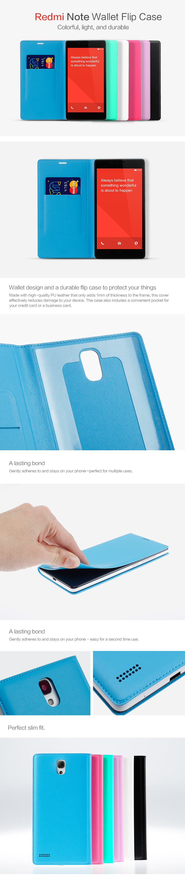 redmi note wallet flip case